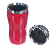 Aluminum red mug and lid Stock Images