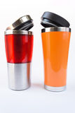 Aluminum red and orange  mug Stock Image