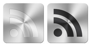 Aluminum RSS web icons/buttons. Pair of shiny aluminum RSS web icons/button Royalty Free Stock Images