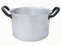 Aluminum saucepan. Antique aluminum saucepan isolated on white background stock image