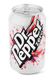 Aluminum silver can of Dr Pepper Stock Photos
