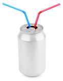 Aluminum soda can with straws Royalty Free Stock Image
