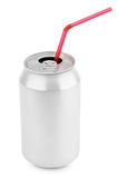 Aluminum soda can with straws royalty free stock photography