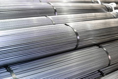 Aluminum. Stacked aluminum  metal rods. Heavy industry production Stock Photo