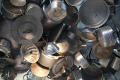 Aluminum and stainless steel pots and pans Stock Photography