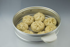 Aluminum steamer put delicious steamed stuffed bun. Asian China traditional food, steamed stuffed bun Stock Image