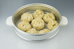 Aluminum steamer put delicious steamed stuffed bun. Asian China traditional food, steamed stuffed bun Stock Photo