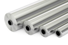 Aluminum or steel foil rolls, 3D. Rendering royalty free illustration