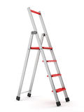 Aluminum step-ladder. With red steps on white backgroud Royalty Free Stock Image
