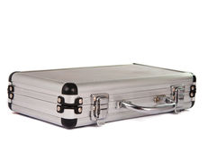 Aluminum suitcase isolated Stock Photo