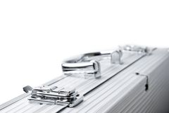 Aluminum suitcase isolated Royalty Free Stock Images