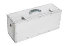 Aluminum suitcase isolated on a white background Stock Photography