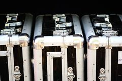 Aluminum suitcases for fragile objects and high security transportation Royalty Free Stock Image