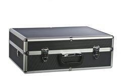 aluminum svart portfölj isolerad vadderad white Arkivfoton