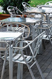 Aluminum tables and chairs Royalty Free Stock Photography