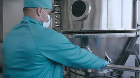 Aluminum tanks for the storage of raw materials in the chemical industry, sterile conditions in the enterprise. Pharmacology granulation stock footage