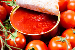 Aluminum tin can and tomato Stock Images
