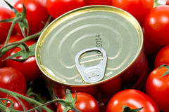 Aluminum tin can and tomatoes Stock Photo