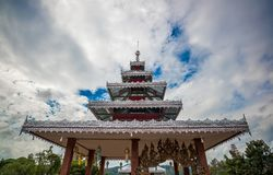 The Aluminum top Roof of temple decoration in Thailand. Buddhism trust Royalty Free Stock Photos