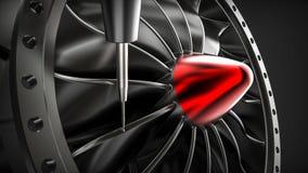 Aluminum turbin för Cnc-malning i maskin för fem axel stock illustrationer