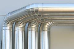 Aluminum ventilation air Pipes in building. Aluminum ventilation air Pipes on wall building stock photos