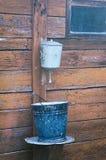 Aluminum wash basin and an old enamel bucket Royalty Free Stock Image