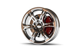 Aluminum Wheel Image 3D High Quality Rendering. White Picture Figured Alloy Rim For Car, Tracks. Best Used For Motor Show Royalty Free Stock Photos