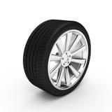 Aluminum wheel with tires Stock Photo