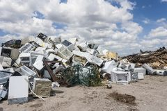 Aluminum and Wood Recycling royalty free stock photos