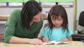 Alumno de la hembra de Reading Book With del profesor metrajes