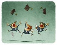 Alumnos alegres que saltan con su casquillo en el aire ilustración del vector
