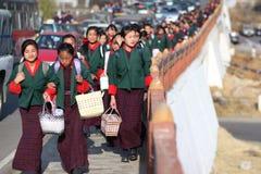 Alumnos, Bhután Foto de archivo libre de regalías
