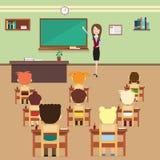 Alumnos de la lección de la escuela e interior de In Class Room del profesor stock de ilustración