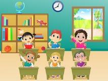 Alumnos de las actividades de la lección en sala de clase libre illustration