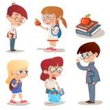 Alumnos de los caracteres del estilo del vintage fijados stock de ilustración