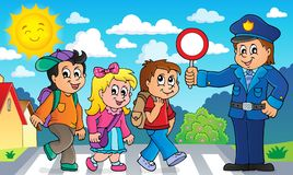 Alumnos e imagen 2 del policía ilustración del vector