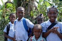 Alumnos en Haití rural Foto de archivo libre de regalías