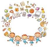 Alumnos felices con muchas cosas de la escuela como marco con un espacio de la copia libre illustration