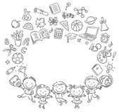 Alumnos felices con muchas cosas de la escuela como marco con un espacio de la copia ilustración del vector