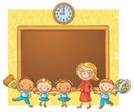 Alumnos felices con su profesor en la pizarra libre illustration
