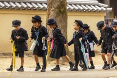 Alumnos japoneses jovenes Imagen de archivo libre de regalías