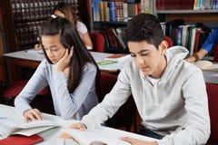 Alumnos que estudian en biblioteca Fotos de archivo libres de regalías