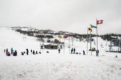 Alumnos que se divierten en la nieve en el agujero de Smiggins Foto de archivo libre de regalías