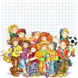 Alumnos y de nuevo al fondo de la escuela para el ejemplo de la acuarela de la celebración ilustración del vector