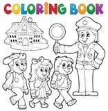 Alumnos y policía del libro de colorear stock de ilustración