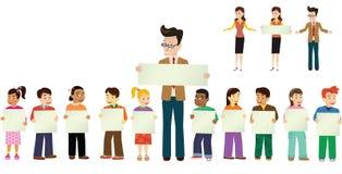 Alumnos y profesores ilustración del vector