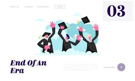 Alumnus Graduating University or College. Cheerful People In Academical Cap and Gown with Diploma Certificate in Hands Graduate. Website Landing Page, Web Page stock illustration