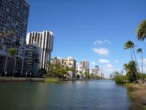 Alun Wai Canal på Oahu, Hawaii Arkivfoton