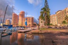 Alun Wai Harbor Honolulu Arkivfoton