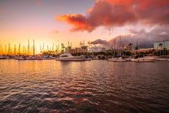 Alun Wai Harbor Honolulu Arkivbilder